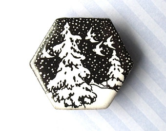 40% OFF! Snow Birds Brooch. Black Porcelain. White. Hexagon. Ceramic. Pine Trees. Winter Jewelry. Snow. Clay. Large Pin. Starry Night. Woods