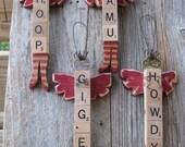 TAMU Scrabble Tile Angel ornament