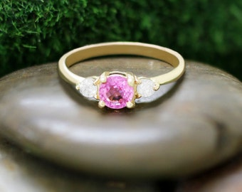 5x5MM Pink Tourmaline and Diamond Engagement <Prong> Solid 14K Yellow Gold (14KY) Colored Stone Wedding Ring *Fine Jewelry* (Free Shipping)