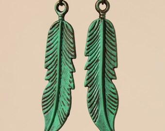 Green Earrings Leaf Earrings Patina Earrings Dangle Metal Earrings Brass Boho earrings Bohemian Jewelry Earrings Lightweight  Gift Ideas
