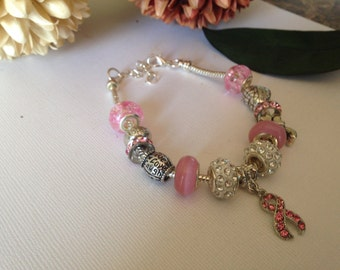 1 pink ribbon bracelet as pictured, silver snake chain charm bracelet, breast cancer awareness, silver bracelet, charm bracelet, bracelet,
