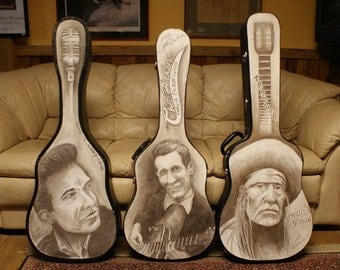Custom Guitar Case Hand Drawn // Guitar Lovers Gift // Custom Musician Gift // Gifts for Musicians // Valentine's Day Gifts for Him and Her
