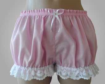 Pink Bloomers with White Lace Cotton - Handmade
