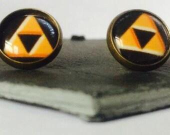 Triforce - Brass Stud Earrings