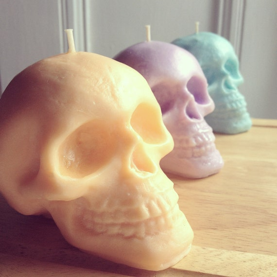 pretty pastel skull candles