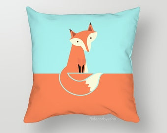 Cute Orange  Fox 18 x 18 Pillow Cover - One Pillow Cover with insert - Accent Pillow - Decorative Pillow - Throw Pillow Cover Case