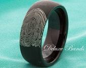 Fingerprint Tungsten Wedding Ring 8mm Satin Finished Custom Fingerprint Anniversary Promise His Hers Comfort Fit Ring FREE Laser Engraving