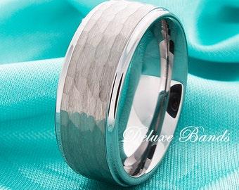 Hammered Tungsten Wedding Band,Tungsten Ring,Stepped Edges,Brushed,9mm,Tungsten Anniversary Ring,Tungsten Wedding Band,Tungsten Wedding Ring