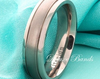 Titanium Wedding Band Grooved 6mm Mens Titanium Ring Titanium Anniversary Ring Titanium Band His Hers Titanium Matching Rings Comfort Fit