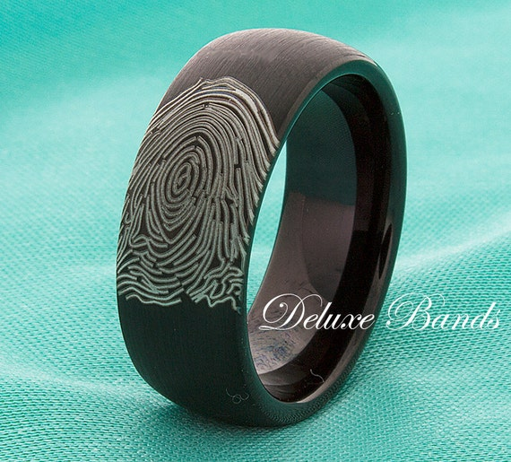 Fingerprint Black Tungsten Wedding Band Tungsten By DeluxeBands
