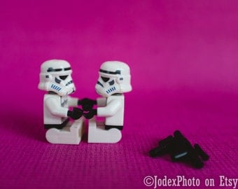 Star Wars™ LEGO® Stormtrooper 'Hand in Hand' Photograph Print 7x5, 8x10 or 20x16 Wall Art Home Decor