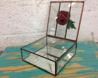 Vintage Glass Vitral Box Container - trinket box