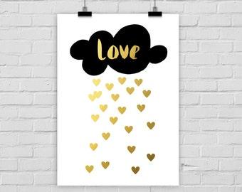 fine-art print fake gold love cloud hearts