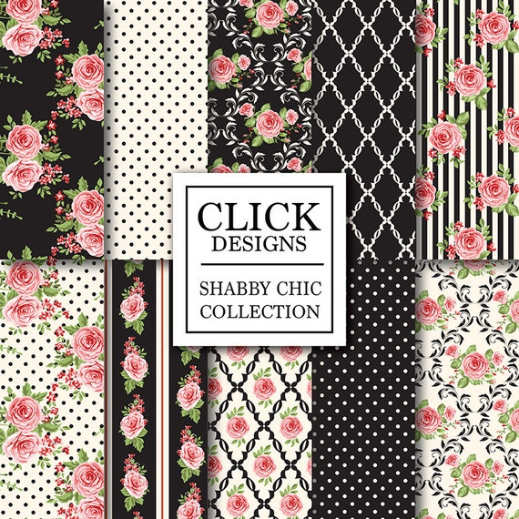 shabby chic digital paper shabby black cream. Black Bedroom Furniture Sets. Home Design Ideas