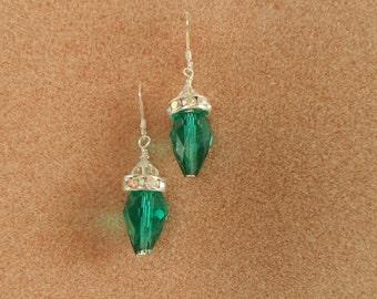 Green Crystal Chrismas Bulb Earrings SS00108