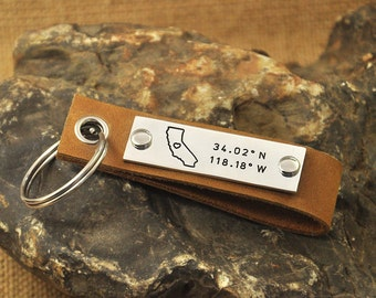 California key chain  latitude Longitude keychain Coordinate key chain state keychain leather map key chain state charm