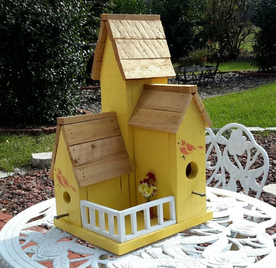 Yellow Country Condo Birdhouse