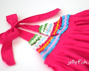 Girls pink ruffle halter neck cotton summer dress with colourful frills. Size 1 size 2, size 4, size 6, size 8, size 10