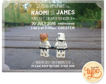 Printable and customisable - Star Wars Lego Wedding Invitation - Unique Wedding Invitation- Typography Wedding Invitations