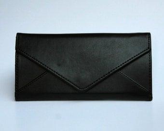 Womens Black Leather Wallet,  Black Wallet, Leather Wallet, Womens Wallet, Envelope Shaped Wallet