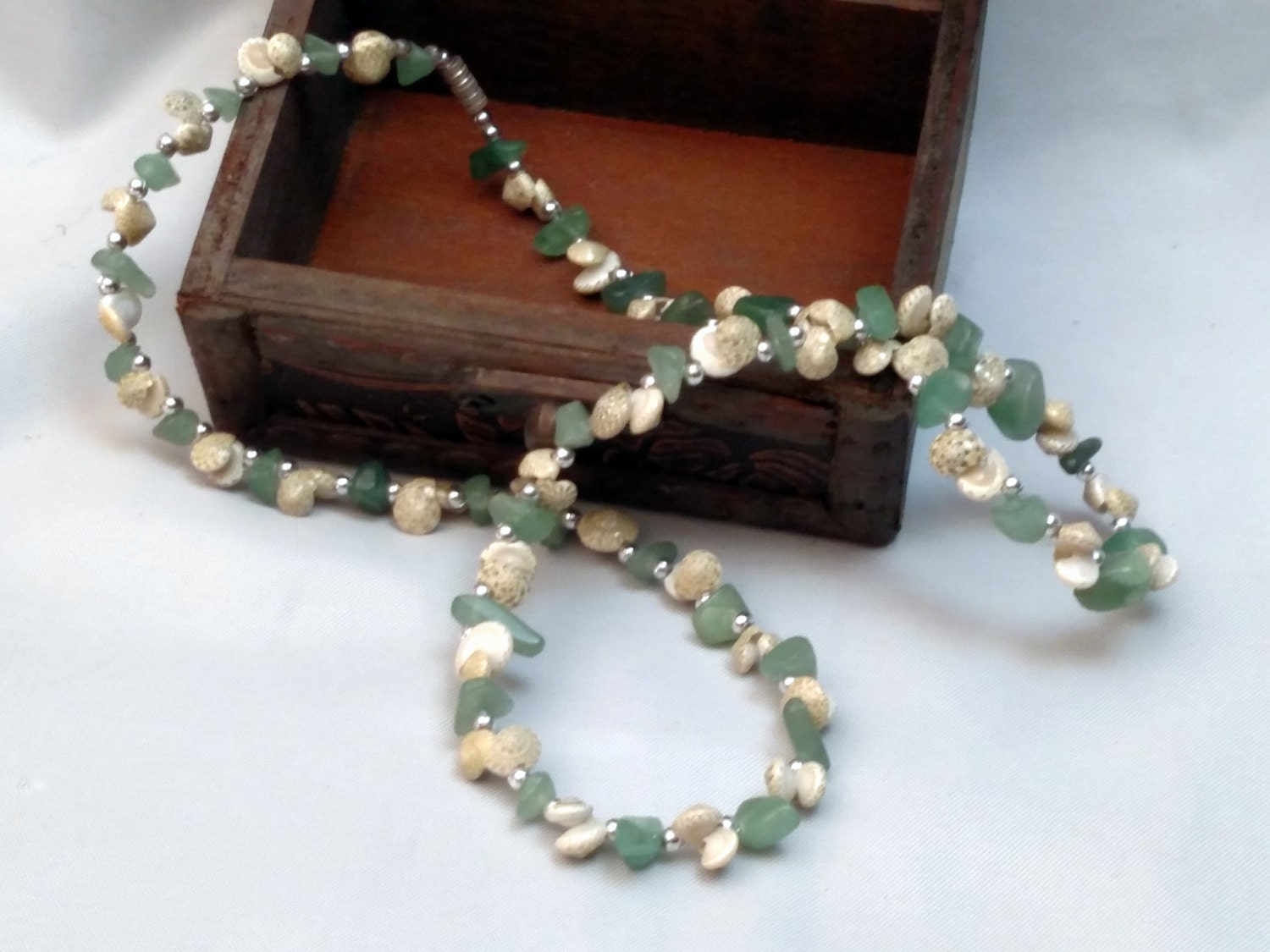 Handmade Seashell and Turquoise Beaded Necklace from Antigua