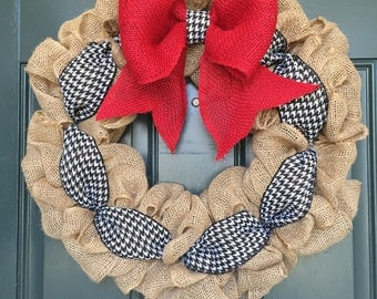 Burlap Wreath with Red, Black and White Accents