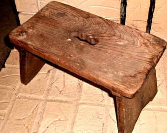 Old Wooden Step Stool Primitive Handmade Antique Bench