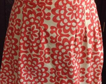 Red Floral print, Handmade Half Apron