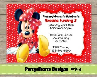 143 DIY - Minnie Mouse Party Invitations Cards.