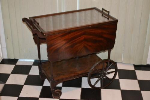 1900 S Mahogany Paalman Tea Cart Glass Top With Turned