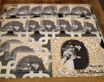 50th Wedding Anniversary Favors Microfiber Cloths in Clear Pouch
