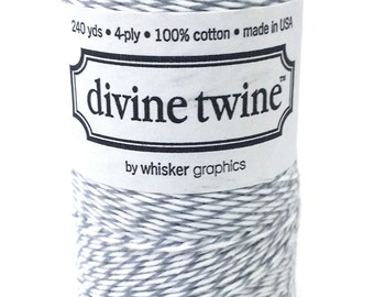 10m Oyster Grey & White Divine Twine Packaging Yarn String Bakers Twine