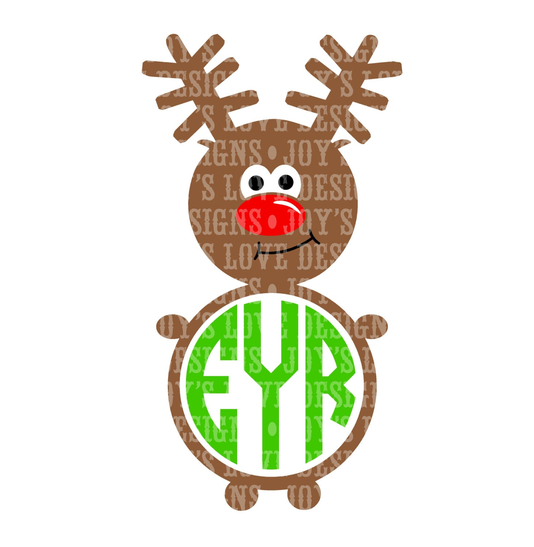 Monogram Reindeer SVG and DXF Digital Download by JoysLoveDesigns