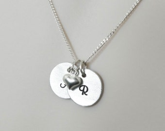 Sterling silver Initials Personalized necklace,Little silver heart necklace with  initial, personalized gift,Dad