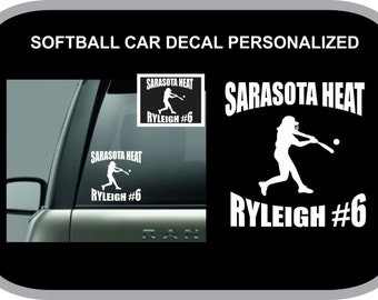Custom Softball Vinyl decal; Decal personalized with name, number and team; car decal; sign vinyl