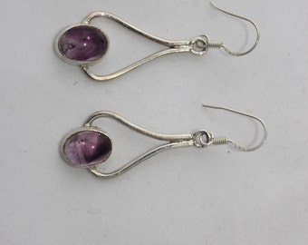 Amethyst Earrings set in Sterling Silver