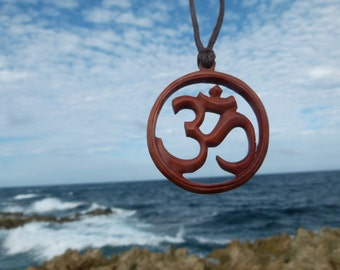 Hand Carved Wood Om Necklace - Wood necklace Om - Wooden Necklace Hand crafted - Om Yoga Necklace - Yoga Om Jewelry - NW006