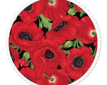 Cotton Quilting Fabric by the Yard- Large Red Poppies