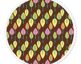 Cotton Quilting Fabric by the Yard - Trees on Brown Fabric
