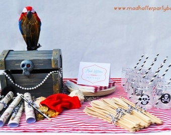 Pirate Party Box: Pirate Party Supplies For 8 - Pirate Party Centerpiece, plates, cups, cutlery and Favors