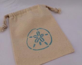 Under The Sea Favor Bags: Sand Dollar Ocean Party Favor Bag, Reusable Muslin Drawstring Gift Bag