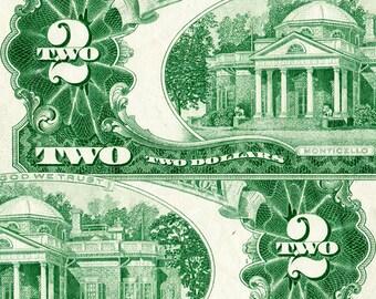 2 Dollar Bill Green Back (1963) Print