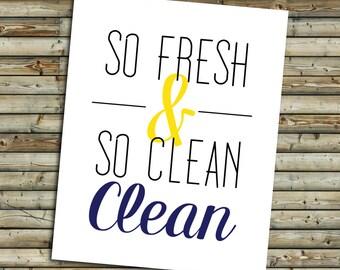 So Clean Bathroom Art Print   Navy & Yellow   Instant Download Printable Digital File   KFT Design Original