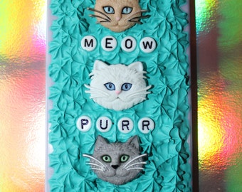 Cat Themed Kawaii iPhone 5 Case Blue Frosting