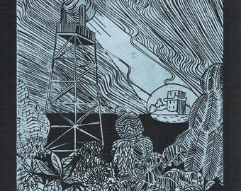 Watching black and white linocut on 300 gr III. acid-free cardboard, 2014, Edition: 100 pieces
