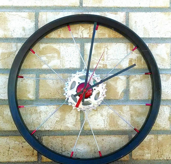 Bicycle wheel wall clock hand crafted from used bike parts for Bicycle wheel wall art