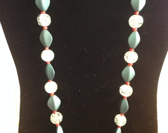 Crystals with Green and Red beads Long Length