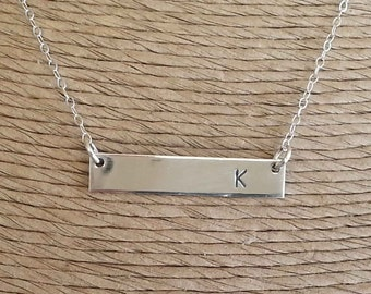 BIG SALE!, Sterling Silver Bar Necklace, Personalized Necklace, Statement, Initial Necklace, Holiday Gifts