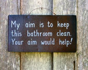 Rustic Tin Sign - Funny - Bathroom - Humor