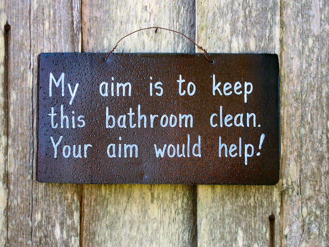 Rustic Tin Sign Funny Bathroom Humor By LauraLangstonDesigns